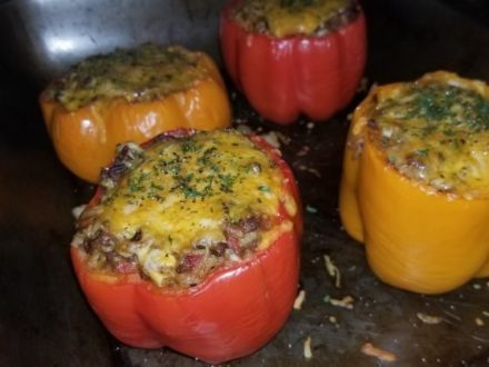 Hatch Chile & Cheesy Beef Stuffed Bell Peppers